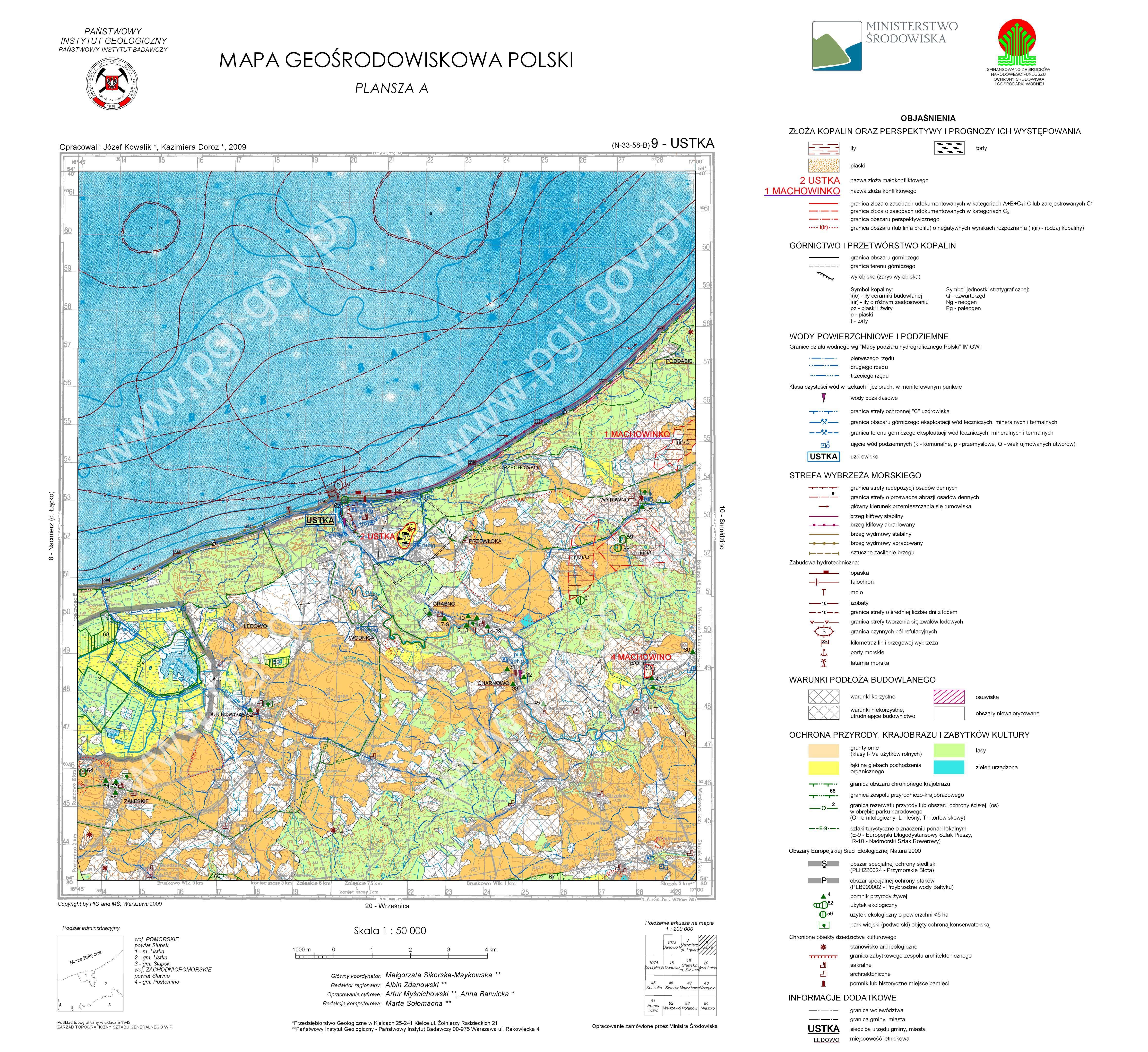 Mapa Geosrodowiskowa Polski 1 50 000 Mgsp Plansza A Arkusz Ustka