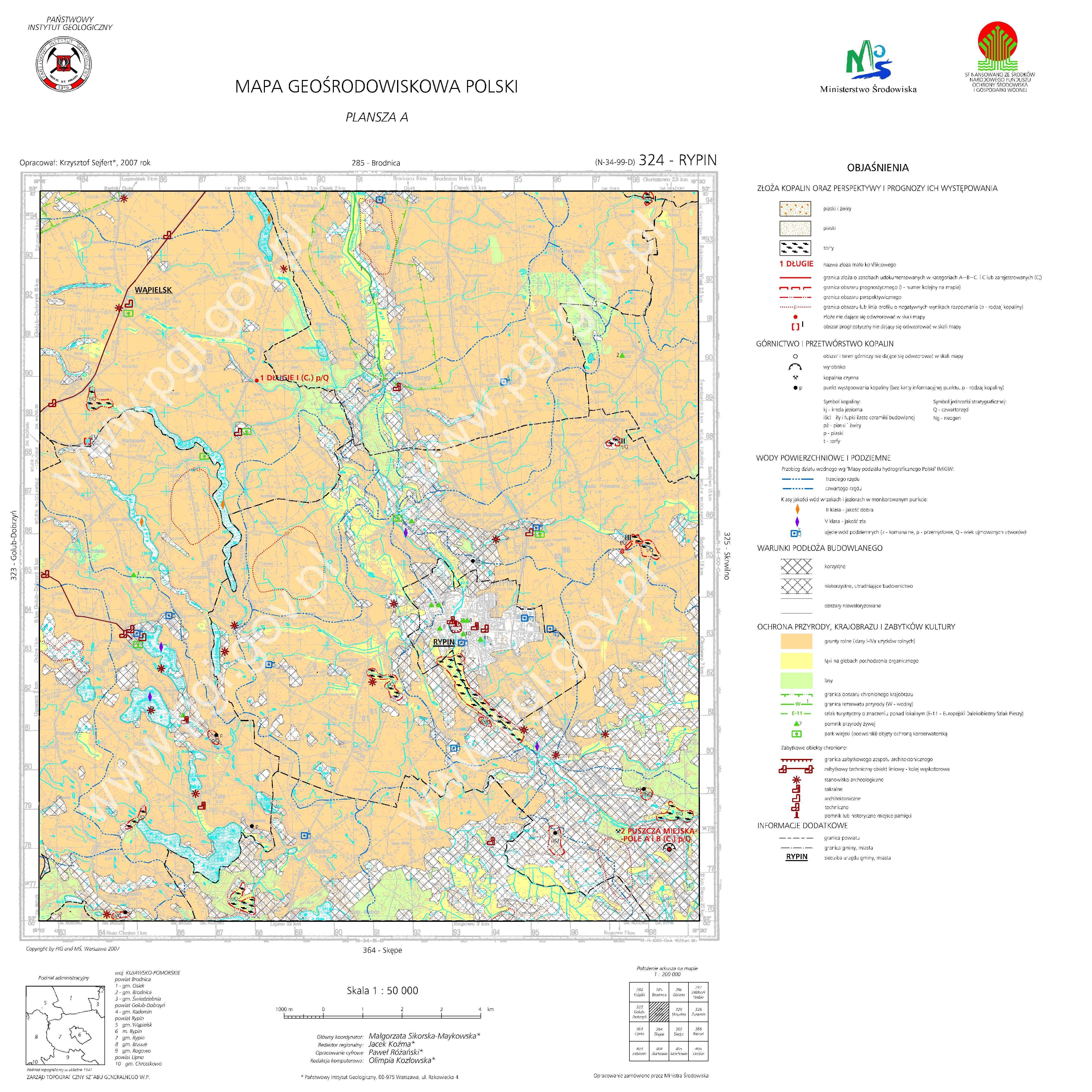 Mapa Geosrodowiskowa Polski 1 50 000 Mgsp Plansza A Arkusz Rypin
