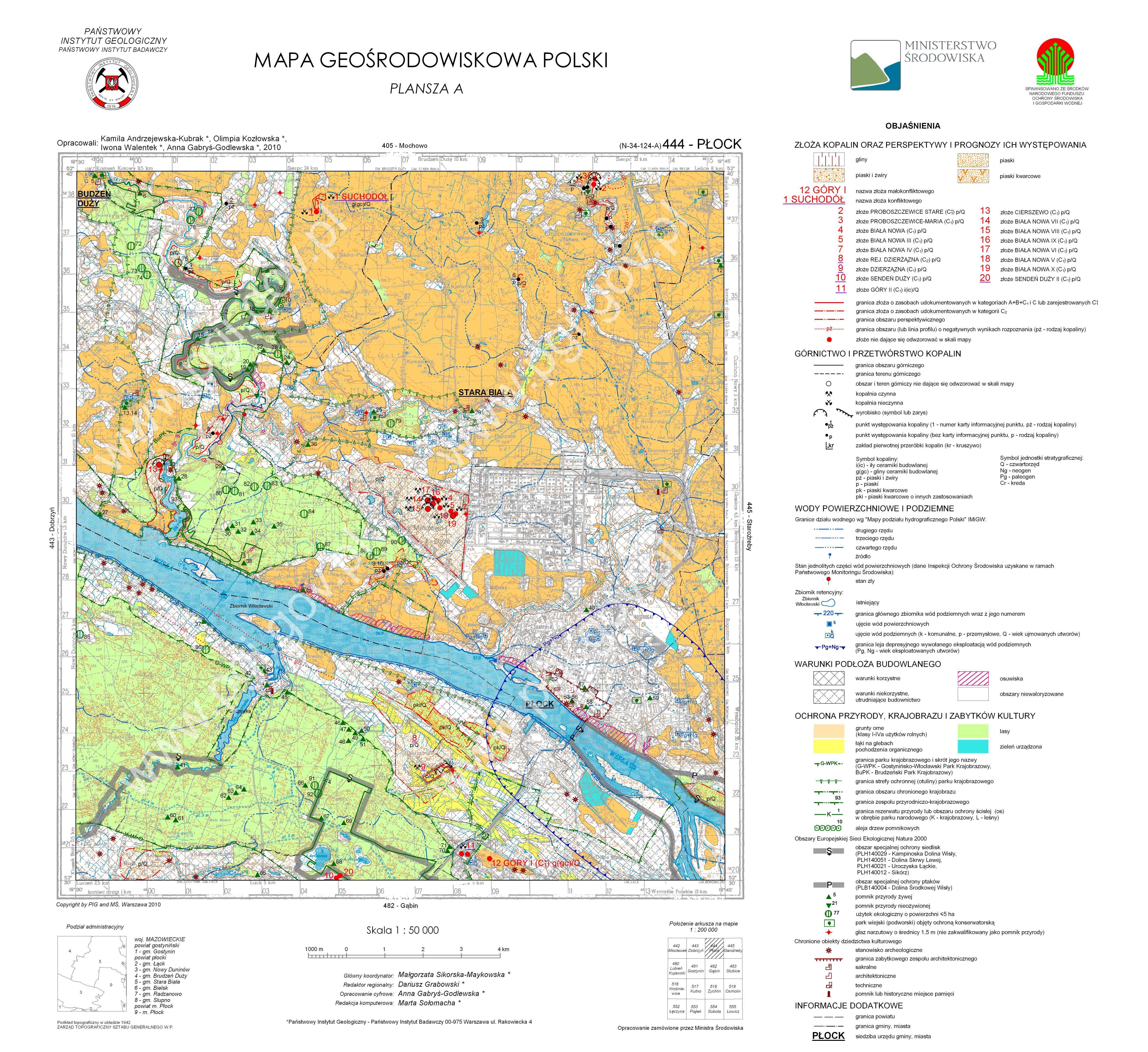 Mapa Geosrodowiskowa Polski 1 50 000 Mgsp Plansza A Arkusz Plock