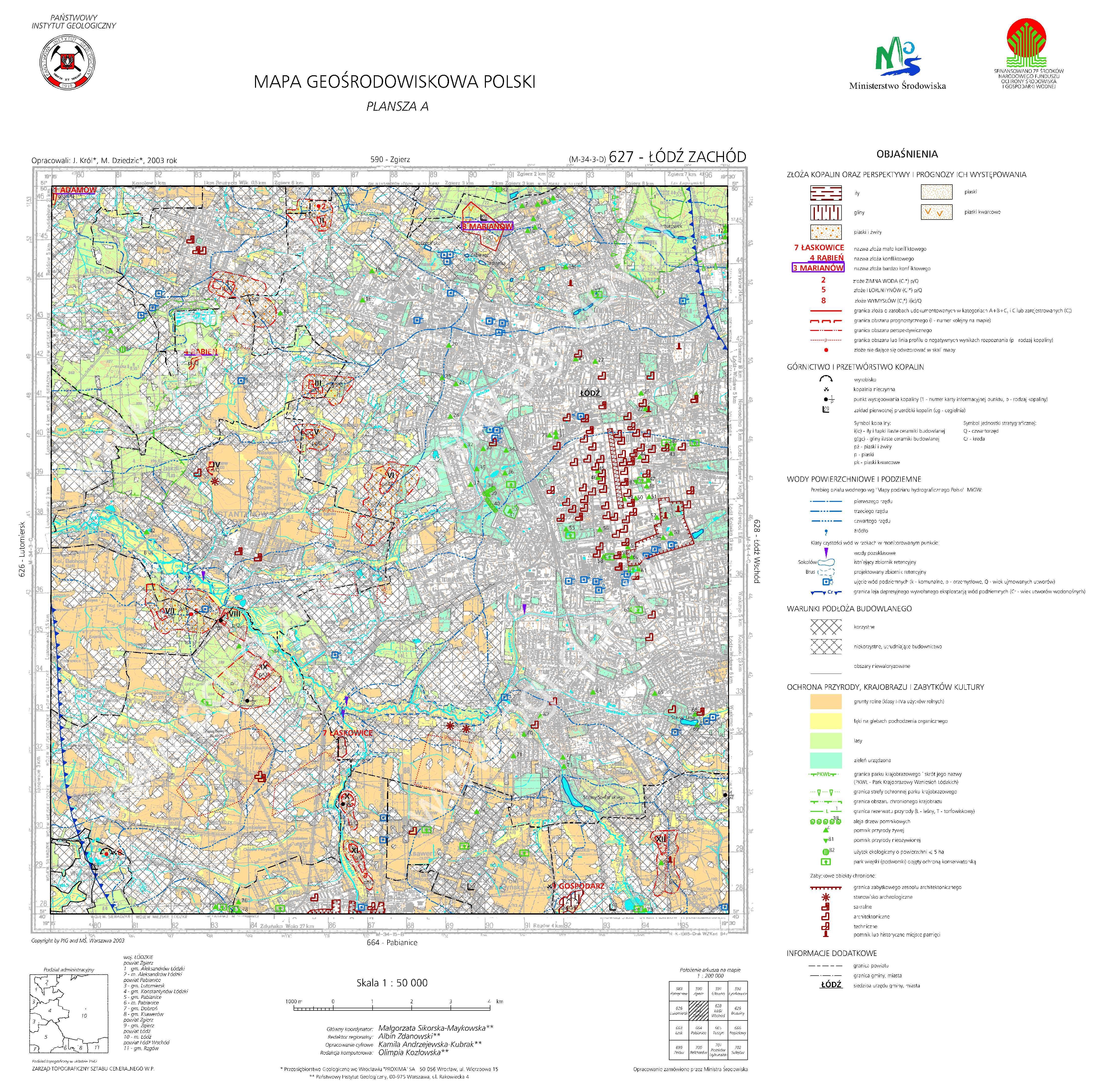 Mapa Geosrodowiskowa Polski 1 50 000 Mgsp Plansza A Arkusz Lodz