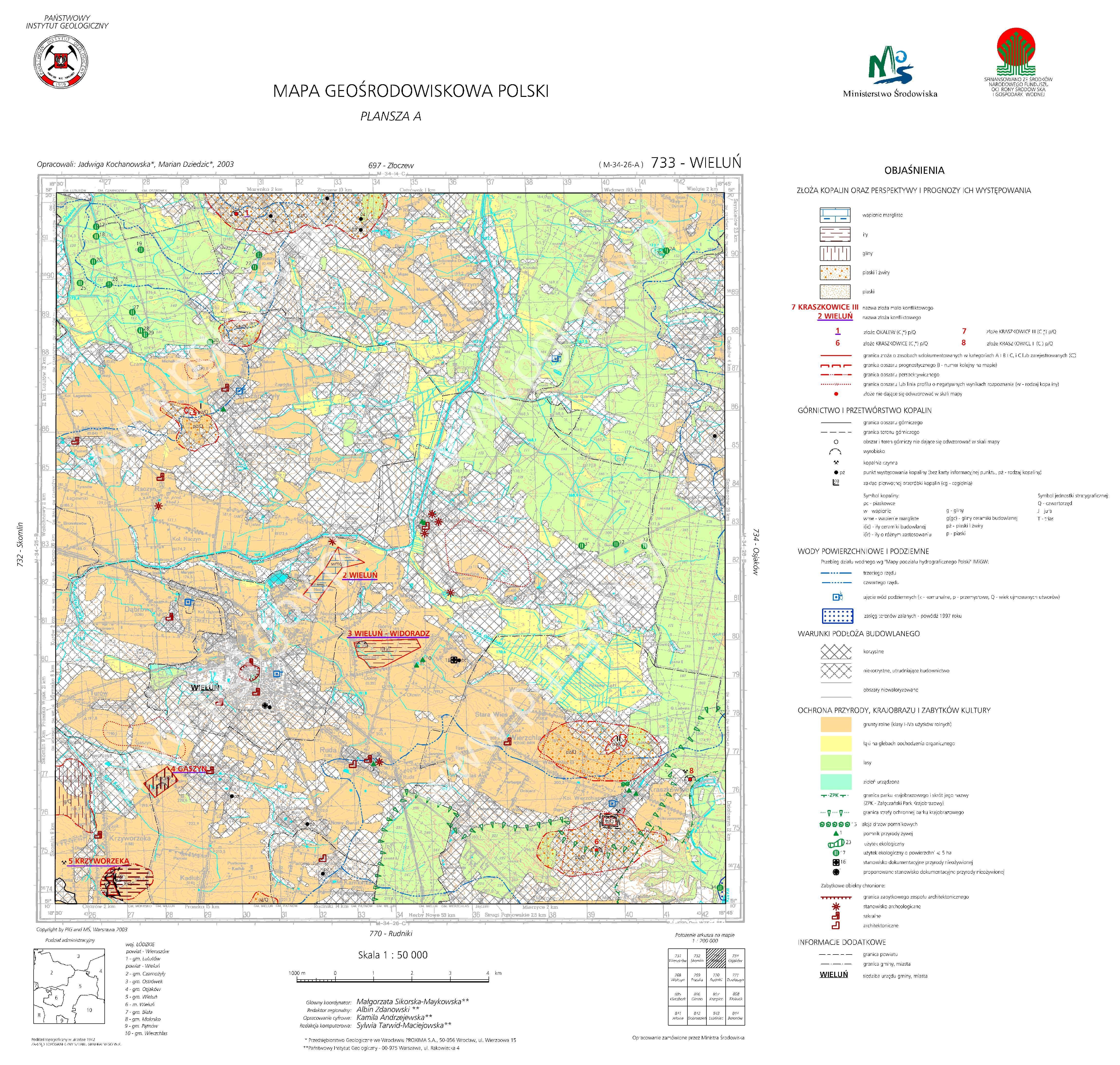 Mapa Geosrodowiskowa Polski 1 50 000 Mgsp Plansza A Arkusz Wielun