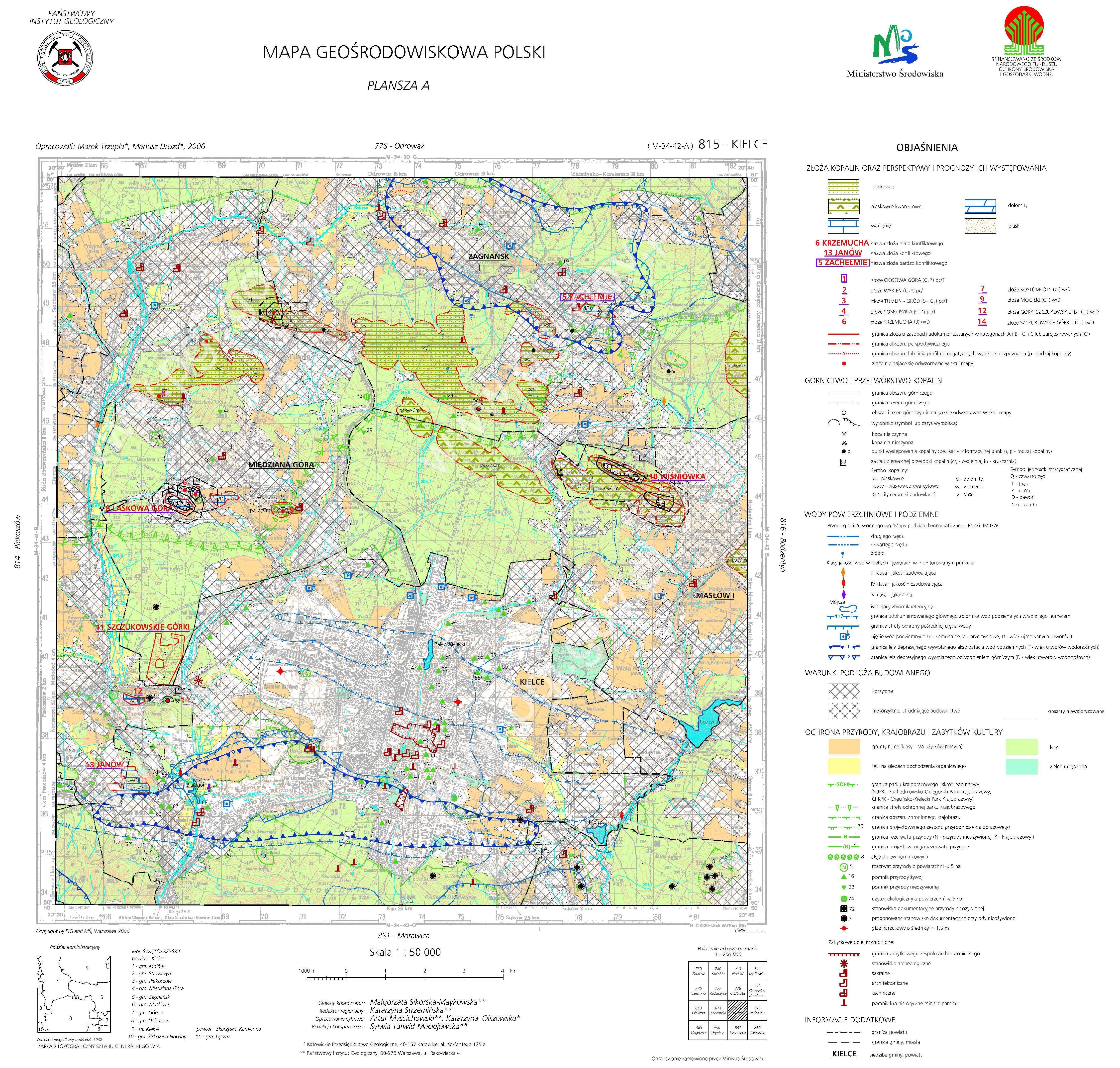 Mapa Geośrodowiskowa Polski 150 000 Mgsp Plansza A Arkusz Kielce