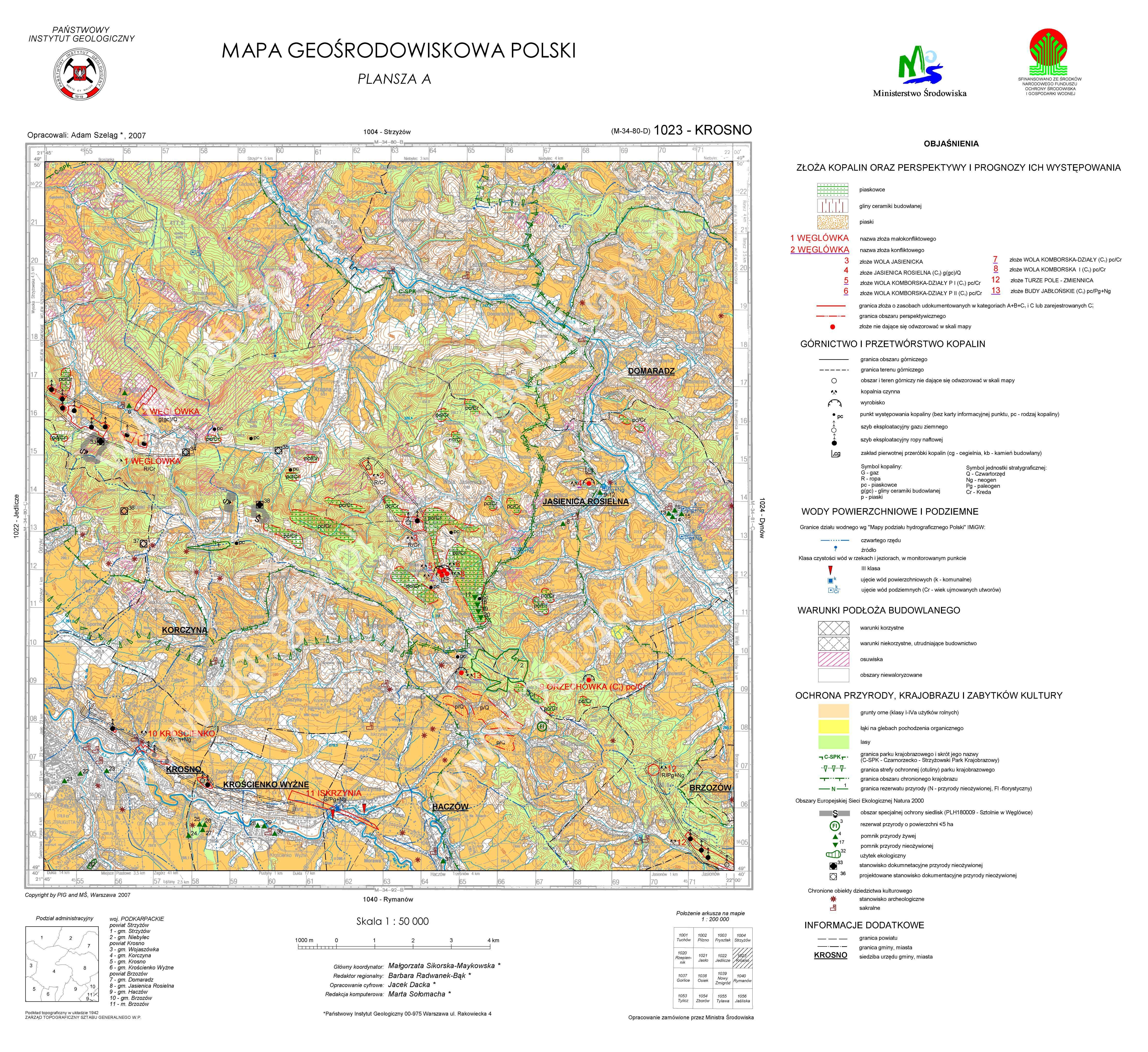 Mapa Geosrodowiskowa Polski 1 50 000 Mgsp Plansza A Arkusz Krosno