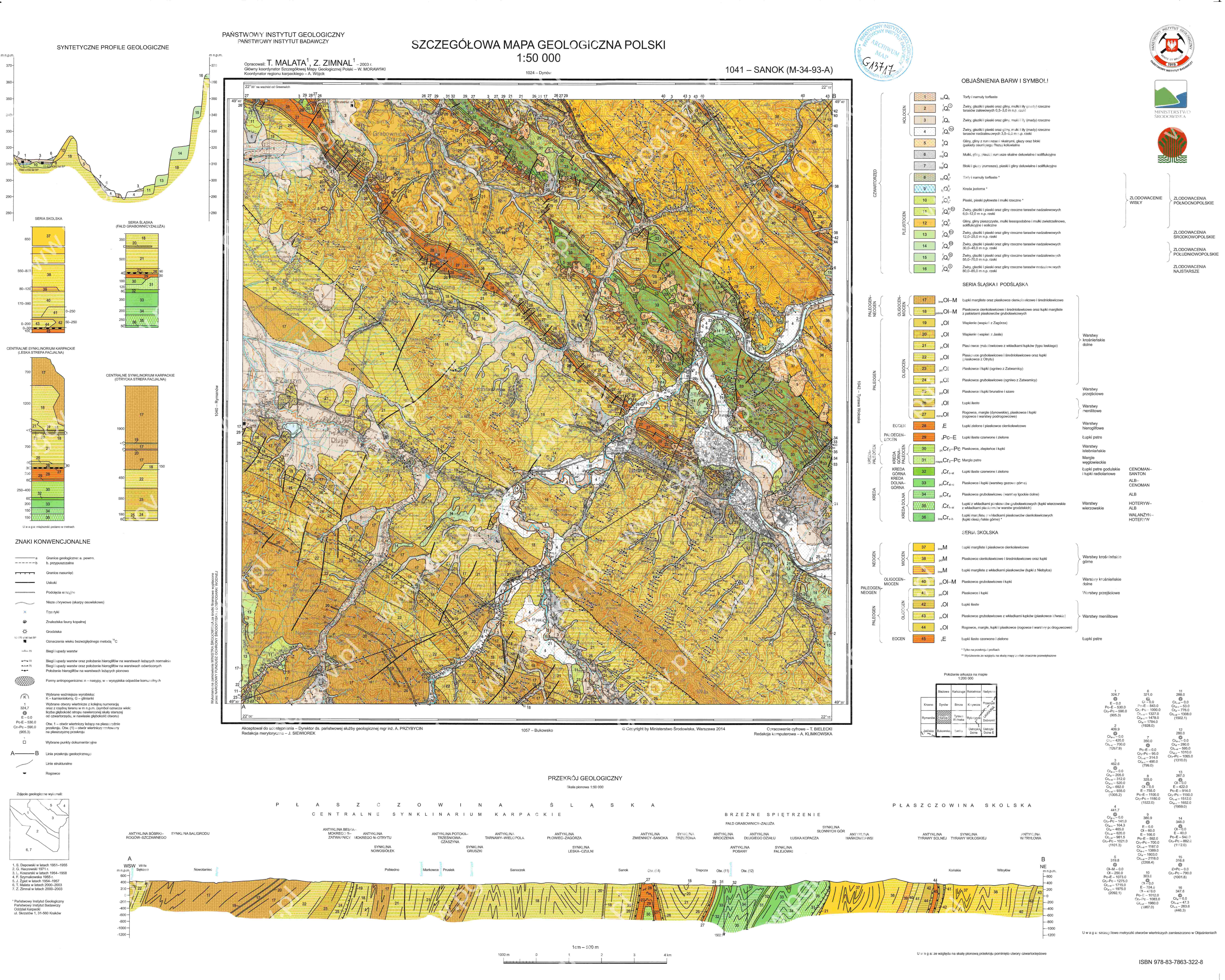 Szczegolowa Mapa Geologiczna Polski 1 50 000 Smgp Arkusz Sanok